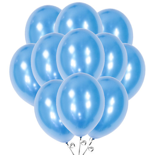 Metallic Blue Biodegradable Latex Balloons 30cm / 12 in - Pack of 50