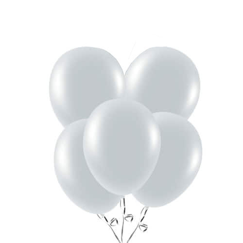 Metallic Silver Biodegradable Latex Balloons 23cm / 9 in - Pack of 20 Bundle Product Image