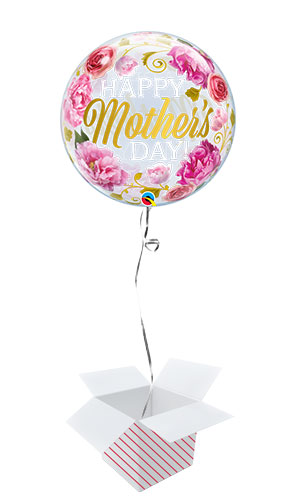 Mother's Day Pink Peonies Bubble Helium Qualatex Balloon - Inflated Balloon in a Box