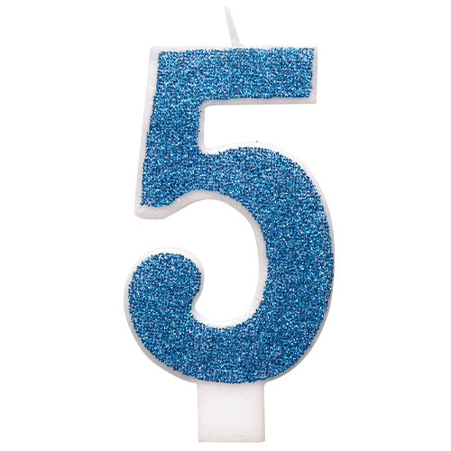 Number 5 Blue Glitz Glitter Birthday Candle 8cm