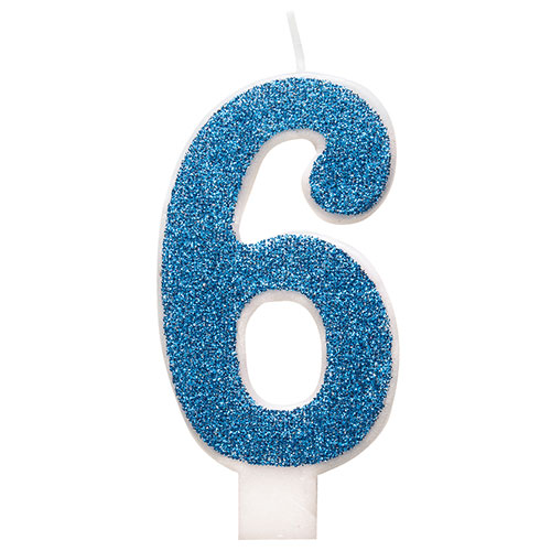 Number 6 Blue Glitz Glitter Birthday Candle 8cm