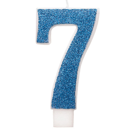 Number 7 Blue Glitz Glitter Birthday Candle 8cm