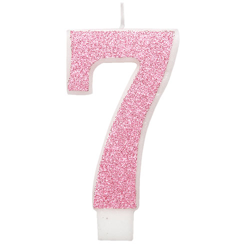 Number 7 Pink Glitz Glitter Birthday Candle 8cm