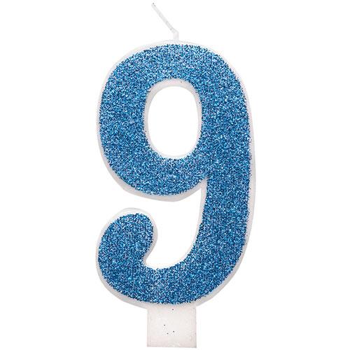 Number 9 Blue Glitz Glitter Birthday Candle 8cm