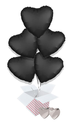 Onyx Black Satin Luxe Heart Foil Helium Valentine's Day Balloon Bouquet - 5 Inflated Balloons In A Box