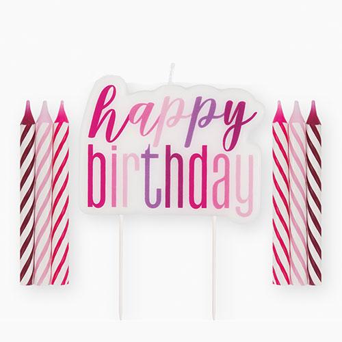Pink Glitz Happy Birthday Candle Set