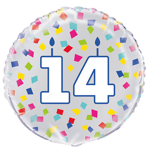 Rainbow Confetti Birthday Age 14 Round Foil Helium Balloon 46cm / 18 in