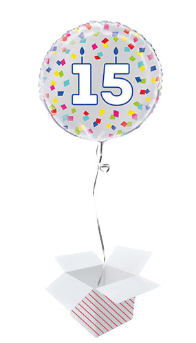 Rainbow Confetti Birthday Age 15 Round Foil Helium Balloon - Inflated Balloon in a Box