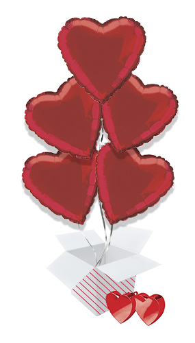 Red Heart Foil Helium Valentine's Day Balloon Bouquet - 5 Inflated Balloons In A Box