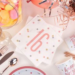 Rose Gold Glitz 16th Birthday Party Supplies