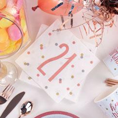 Rose Gold Glitz 21st Birthday Party Supplies
