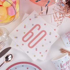 Rose Gold Glitz 60th Birthday Party Supplies