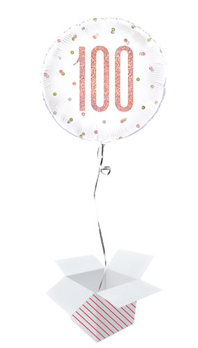 Rose Gold Glitz Age 100 Holographic Round Foil Helium Balloon - Inflated Balloon in a Box