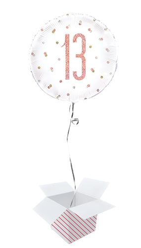Rose Gold Glitz Age 13 Holographic Round Foil Helium Balloon- Inflated Balloon in a Box
