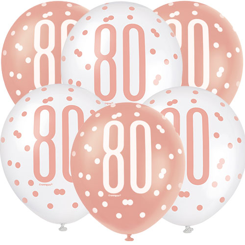Rose Gold Glitz Age 80 Assorted Biodegradable Latex Balloons 30cm / 12 in - Pack of 6