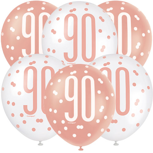 Rose Gold Glitz Age 90 Assorted Biodegradable Latex Balloons 30cm / 12 in - Pack of 6