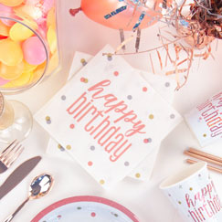 Rose Gold Glitz Happy Birthday Party Supplies