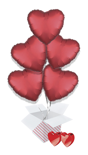 Sangria Red Satin Luxe Heart Foil Helium Valentine's Day Balloon Bouquet - 5 Inflated Balloons In A Box
