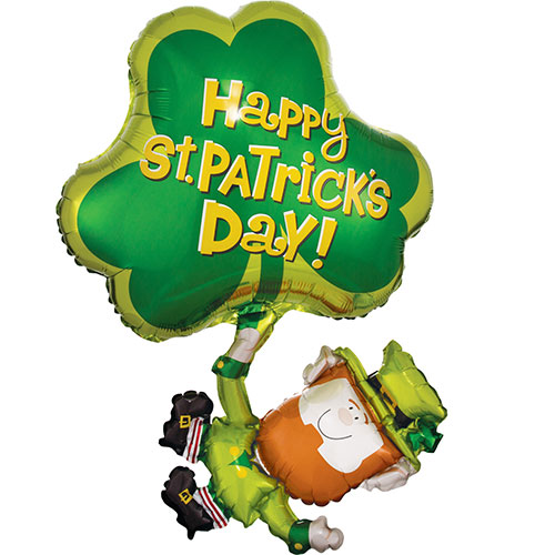 St. Patrick's Day Leprechaun & Shamrock Supershape Helium Foil Balloon 83cm / 33 in