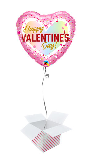 Happy Valentine's Day Ombre Foil Helium Qualatex Balloon - Inflated Balloon in a Box