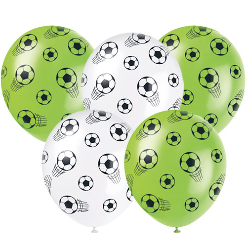 3D Football Assorted Biodegradable Latex Balloons 30cm / 12 in - Pack of 5