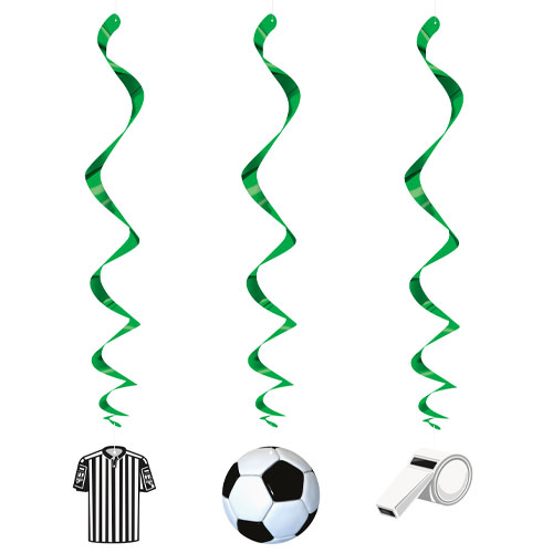 3D Football Hanging Swirl Decorations - Pack of 3