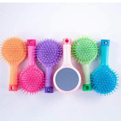 Assorted Detangler Hair Brush With Cushion Mirror