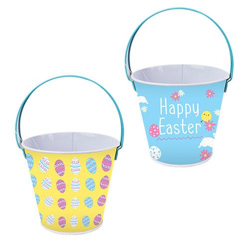 Assorted Easter Egg Hunt Tin Bucket 16cm