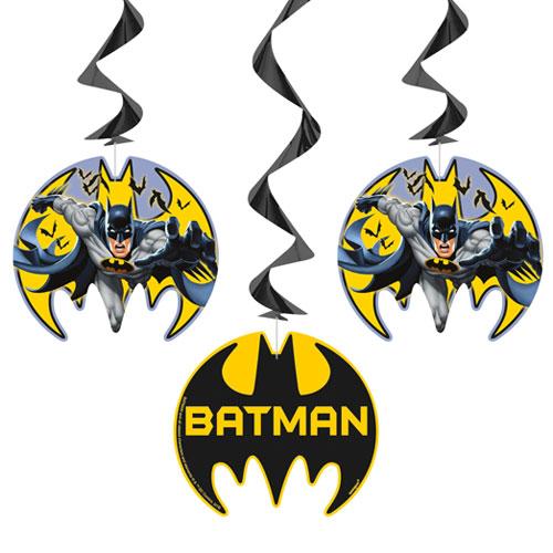 Batman Hanging Swirl Decorations - Pack of 3