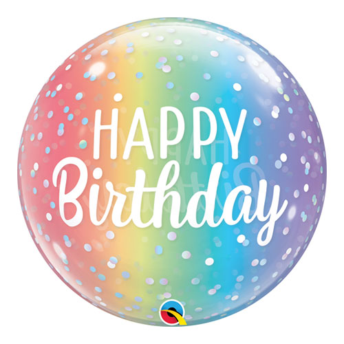 Birthday Ombre & Dots Bubble Helium Qualatex Balloon 56cm / 22 in