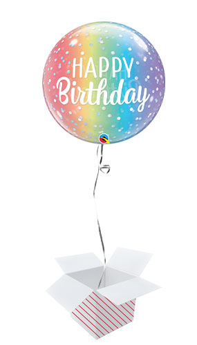 Birthday Ombre & Dots Bubble Helium Qualatex Balloon - Inflated Balloon in a Box