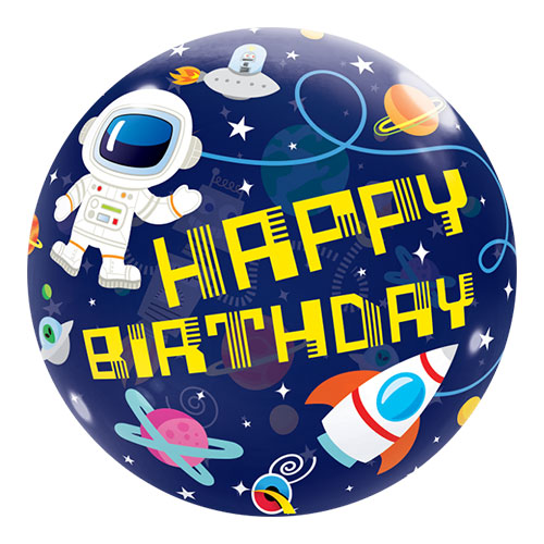 Birthday Outer Space Bubble Helium Qualatex Balloon 56cm / 22 in