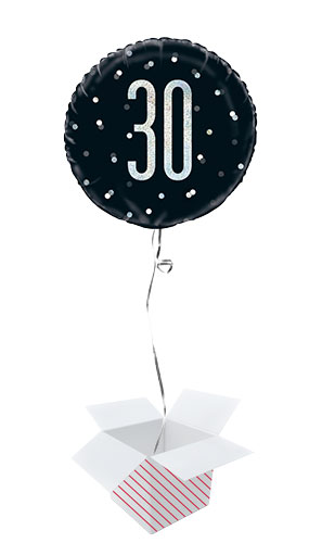Black Glitz Age 30 Holographic Round Foil Helium Balloon - Inflated Balloon in a Box
