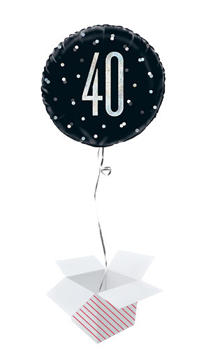 Black Glitz Age 40 Holographic Round Foil Helium Balloon - Inflated Balloon in a Box