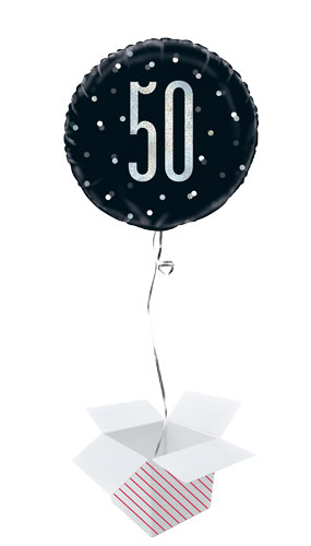 Black Glitz Age 50 Holographic Round Foil Helium Balloon - Inflated Balloon in a Box