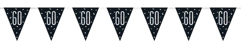 Black Glitz Age 60 Holographic Foil Pennant Bunting 274cm