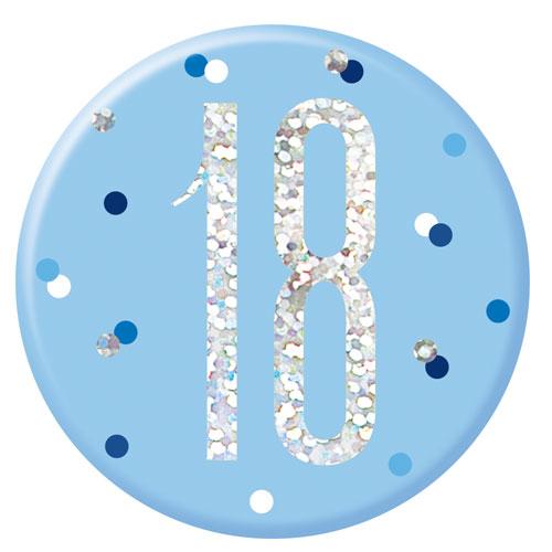 Blue Glitz Age 18 Holographic Birthday Badge 7cm