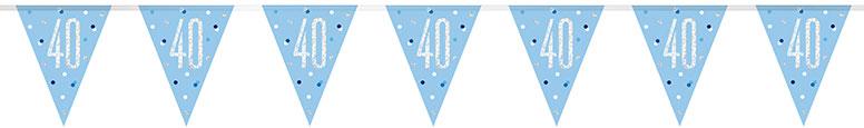 Blue Glitz Age 40 Holographic Foil Pennant Bunting 274cm