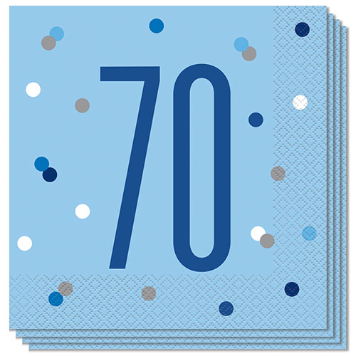 Blue Glitz Age 70 Luncheon Napkins 33cm 2Ply - Pack of 16 Product Image