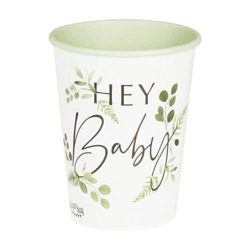 Botanical Hey Baby Paper Cups 270ml - Pack of 8 Product Gallery Image