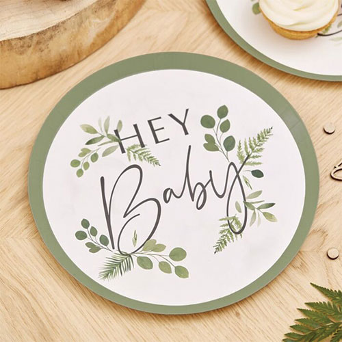 Botanical Hey Baby Round Paper Plates 24cm - Pack of 8