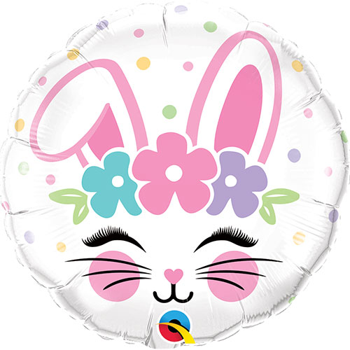Bunny Face Easter Foil Helium Qualatex Balloon 46cm / 18 in