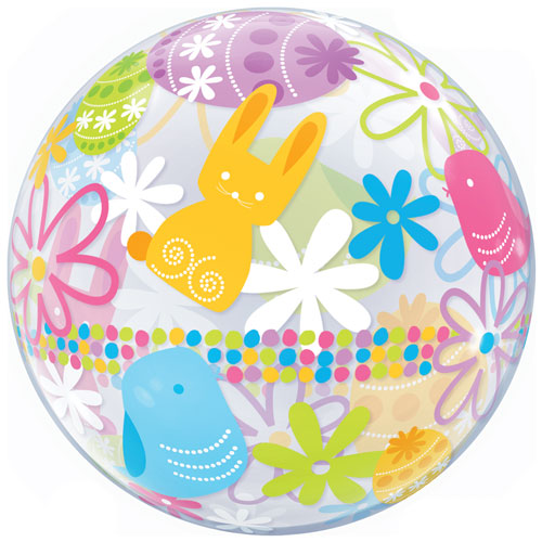 Easter Bunnies & Flowers Bubble Helium Qualatex Balloon 56cm / 22 in Product Gallery Image