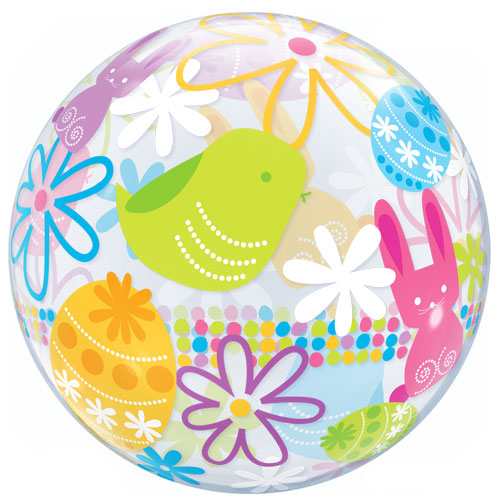Easter Bunnies & Flowers Bubble Helium Qualatex Balloon 56cm / 22 in