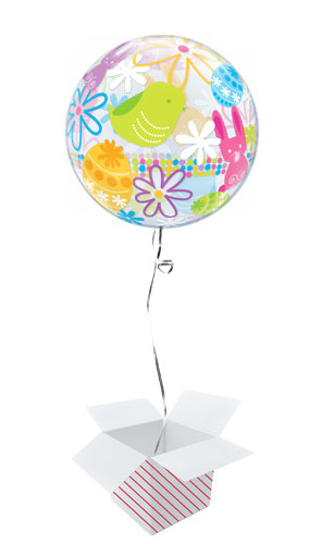 Easter Bunnies & Flowers Bubble Helium Qualatex Balloon - Inflated Balloon in a Box