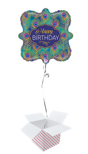 Glitter Peacock Birthday Holographic Foil Helium Balloon - Inflated Balloon in a Box