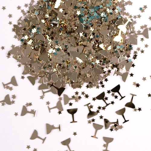 Gold Champagne Glasses Table Confetti 14 Grams