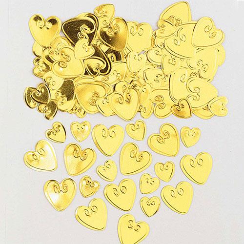 Gold Loving Hearts Table Confetti 14 Grams