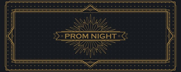 Golden Prom Night PVC Party Sign Decoration 60cm x 25cm