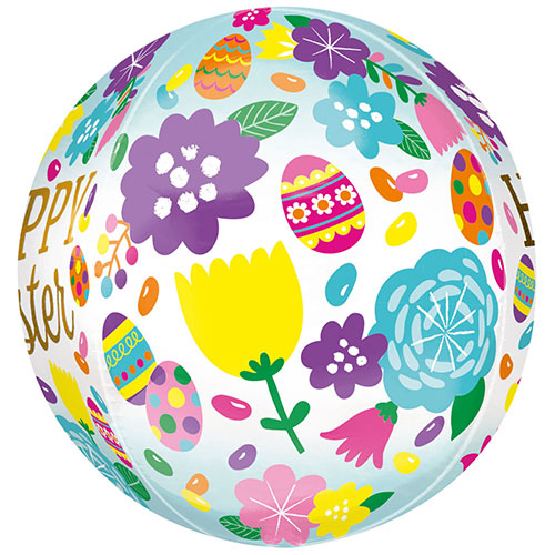 Happy Easter Eggs & Tulips Orbz Foil Helium Balloon 38cm / 15 in Gallery Image